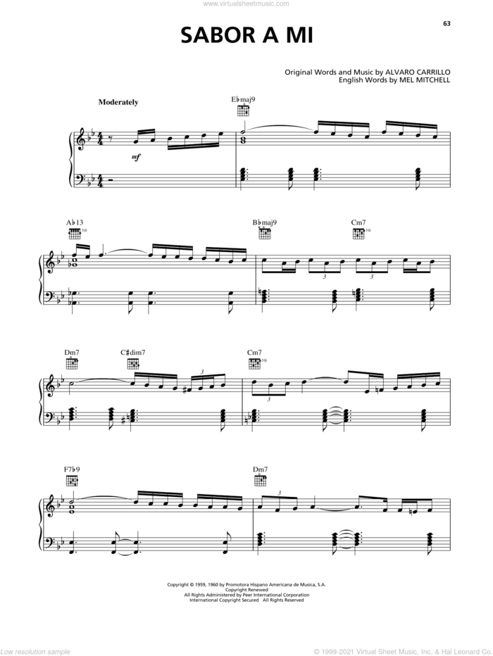 Sabor A Mi (Be True To Me) sheet music for voice, piano or guitar by Luis Miguel, Alvaro Carrillo and Mel Mitchell, intermediate skill level