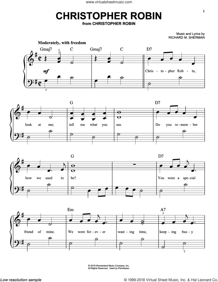 Christopher Robin (from Christopher Robin) sheet music for piano solo by Geoff Zanelli & Jon Brion, Geoff Zanelli and Jon Brion, easy skill level