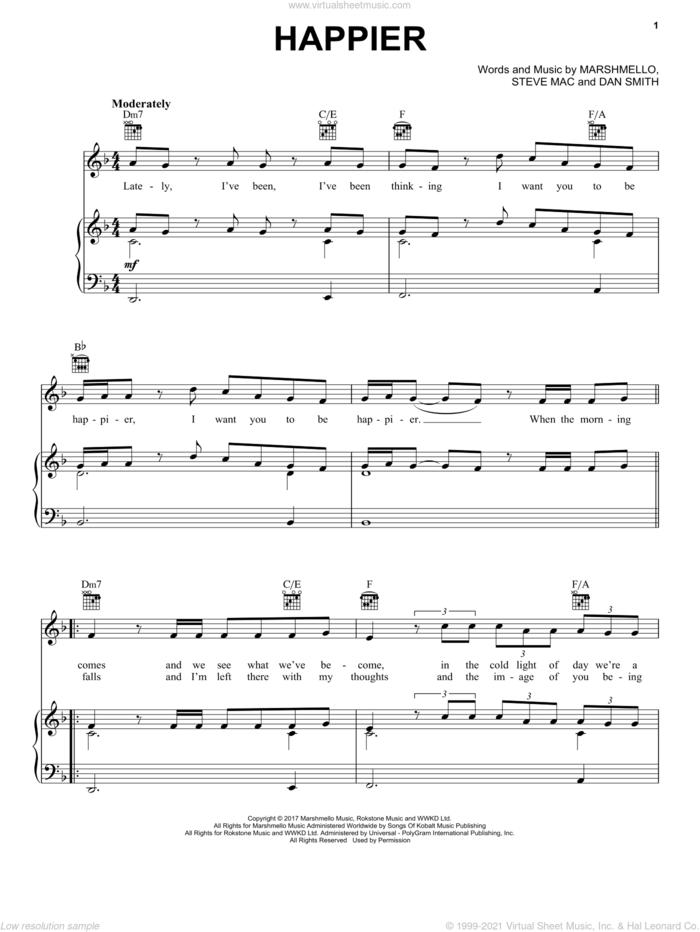 Happier sheet music for voice, piano or guitar by Marshmello & Bastille, Dan Smith, Marshmello and Steve Mac, intermediate skill level