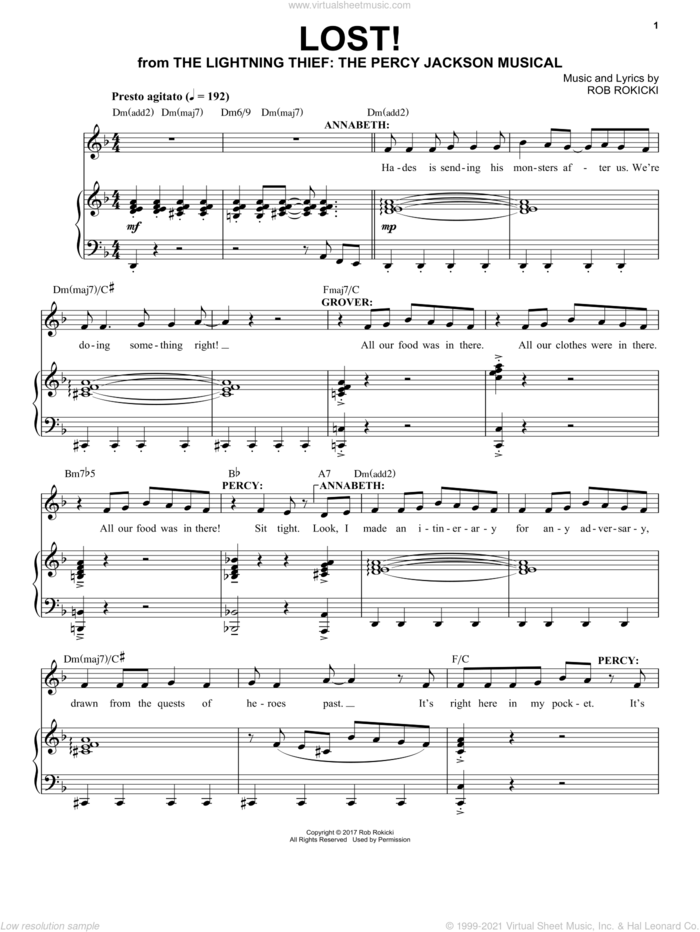 Lost! (from The Lightning Thief: The Percy Jackson Musical) sheet music for voice and piano by Rob Rokicki, intermediate skill level