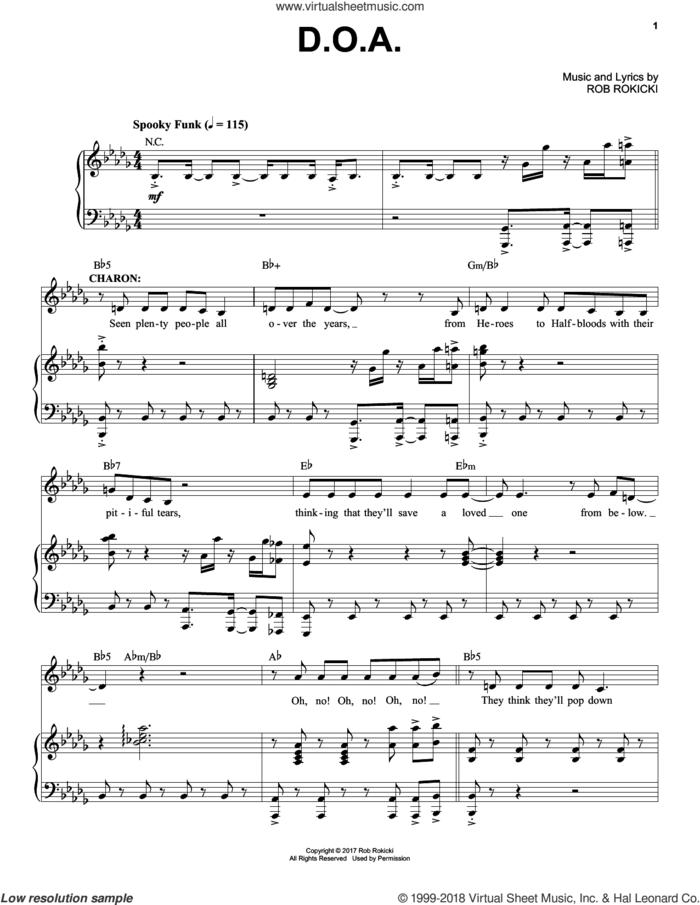 D.O.A. (from The Lightning Thief: The Percy Jackson Musical) sheet music for voice and piano by Rob Rokicki, intermediate skill level