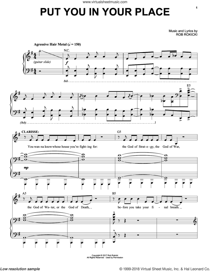 Put You In Your Place (from The Lightning Thief: The Percy Jackson Musical) sheet music for voice and piano by Rob Rokicki, intermediate skill level