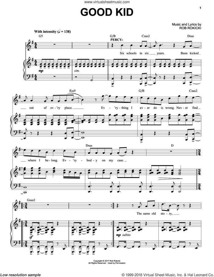 Good Kid (from The Lightning Thief: The Percy Jackson Musical) sheet music for voice and piano by Rob Rokicki, intermediate skill level
