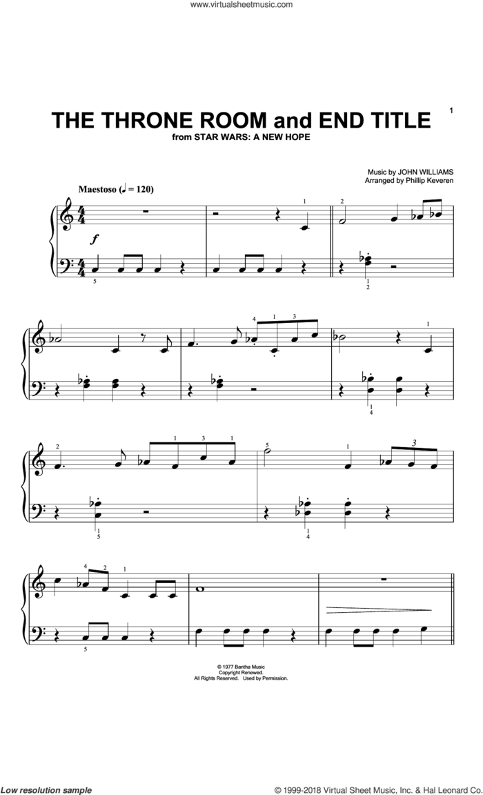 Throne Room and Finale (Arr. Phillip Keveren) sheet music for piano solo (big note book) by John Williams and Phillip Keveren, easy piano (big note book)