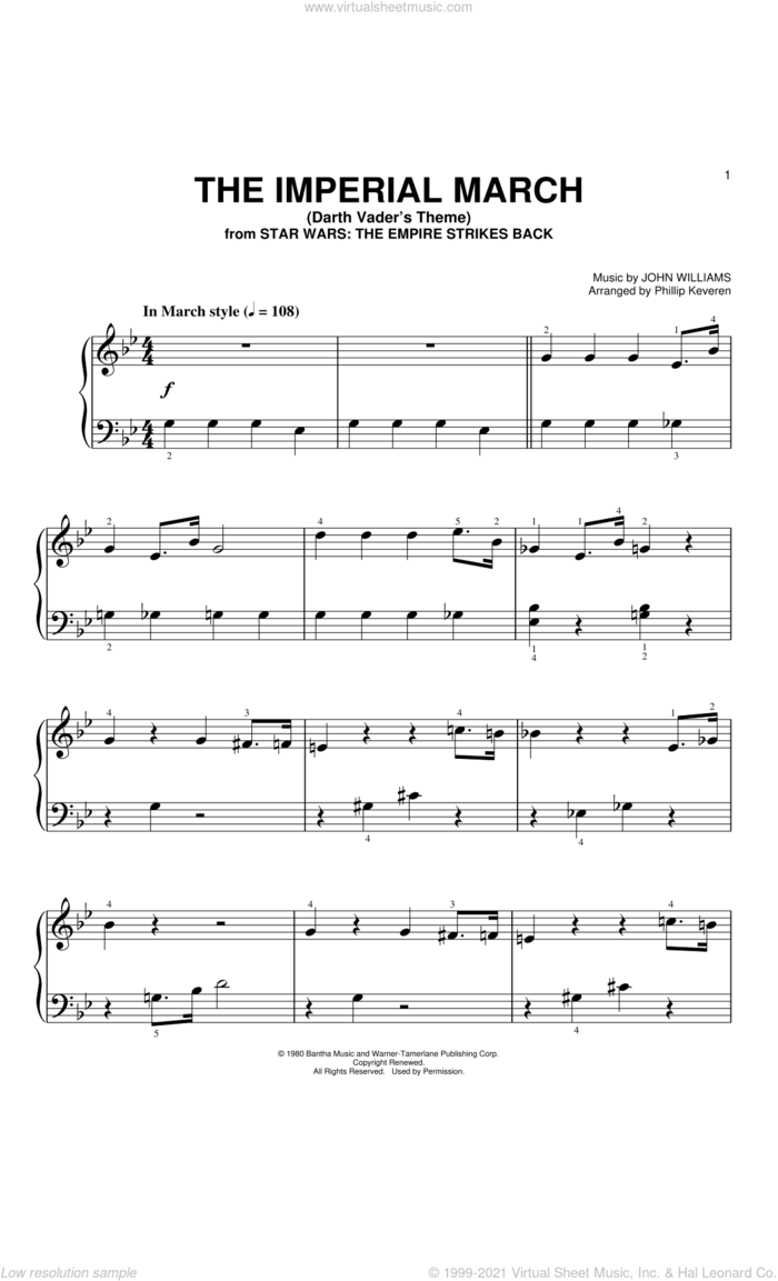 The Imperial March  (Arr. Phillip Keveren) sheet music for piano solo (big note book) by John Williams and Phillip Keveren, easy piano (big note book)