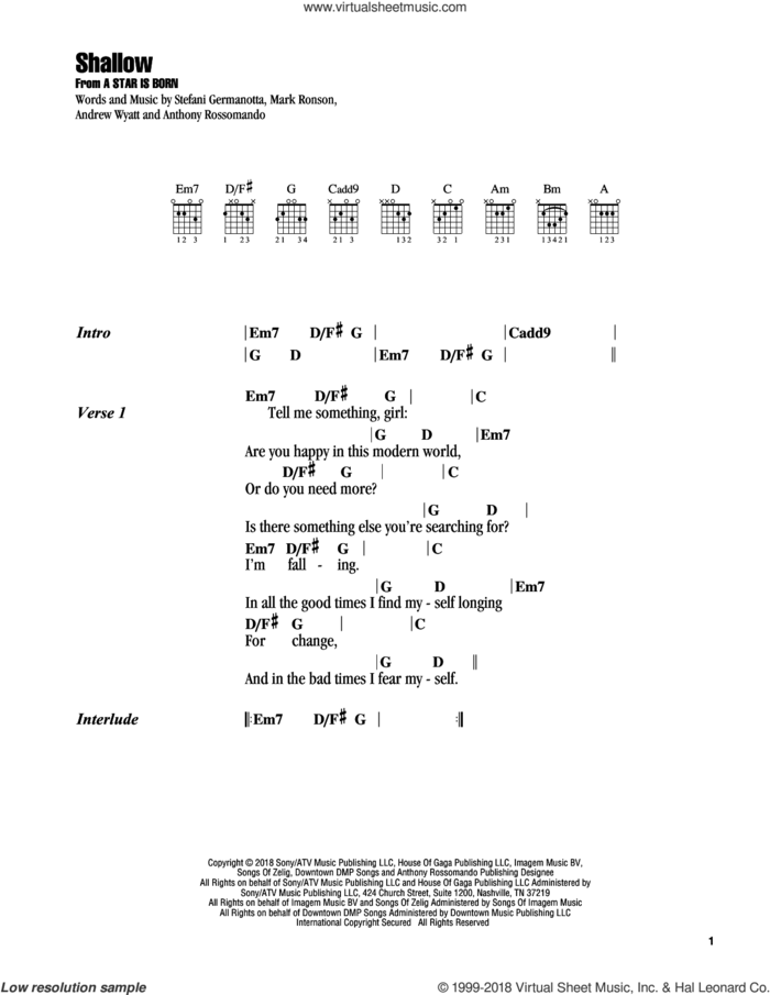 Shallow (from A Star Is Born) sheet music for guitar (chords) by Lady Gaga & Bradley Cooper, Bradley Cooper, Andrew Wyatt, Anthony Rossomando, Lady Gaga and Mark Ronson, intermediate skill level