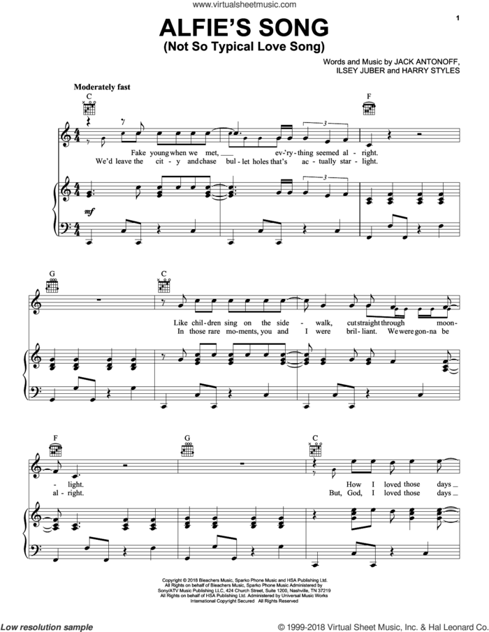 Alfie's Song (Not So Typical Love Song) (from Love, Simon) sheet music for voice, piano or guitar by Bleachers, Harry Styles, Ilsey and Jack Antonoff, intermediate skill level