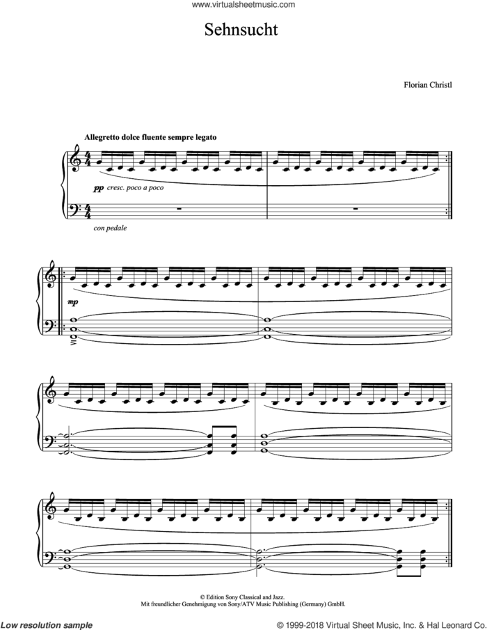 Sehnsucht sheet music for piano solo by Florian Christl, classical score, intermediate skill level