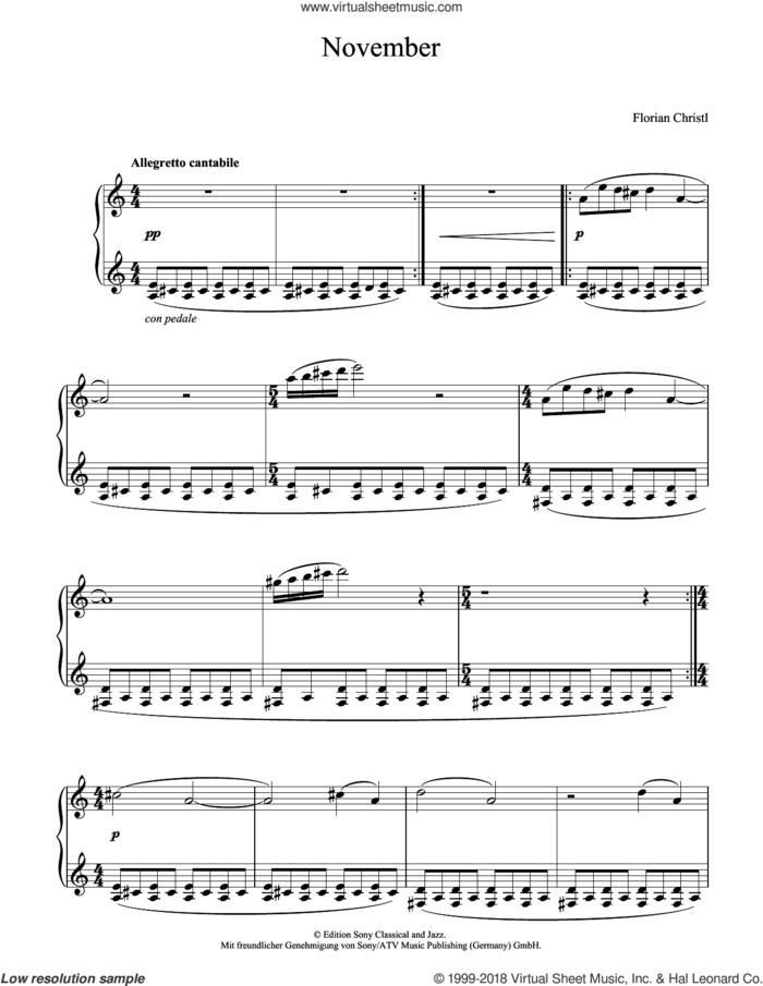 November sheet music for piano solo by Florian Christl, classical score, intermediate skill level