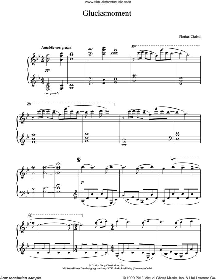 Glucksmoment sheet music for piano solo by Florian Christl, classical score, intermediate skill level