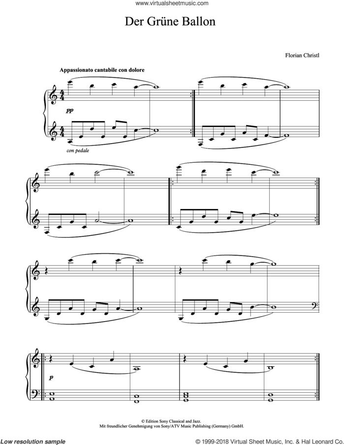 Der grune Ballon sheet music for piano solo by Florian Christl, classical score, intermediate skill level