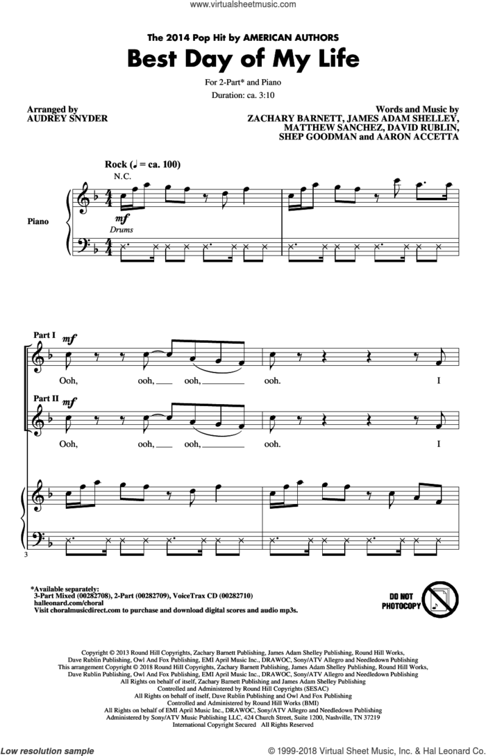 Best Day Of My Life (arr. Audrey Snyder) sheet music for choir (2-Part) by American Authors and Audrey Snyder, intermediate duet