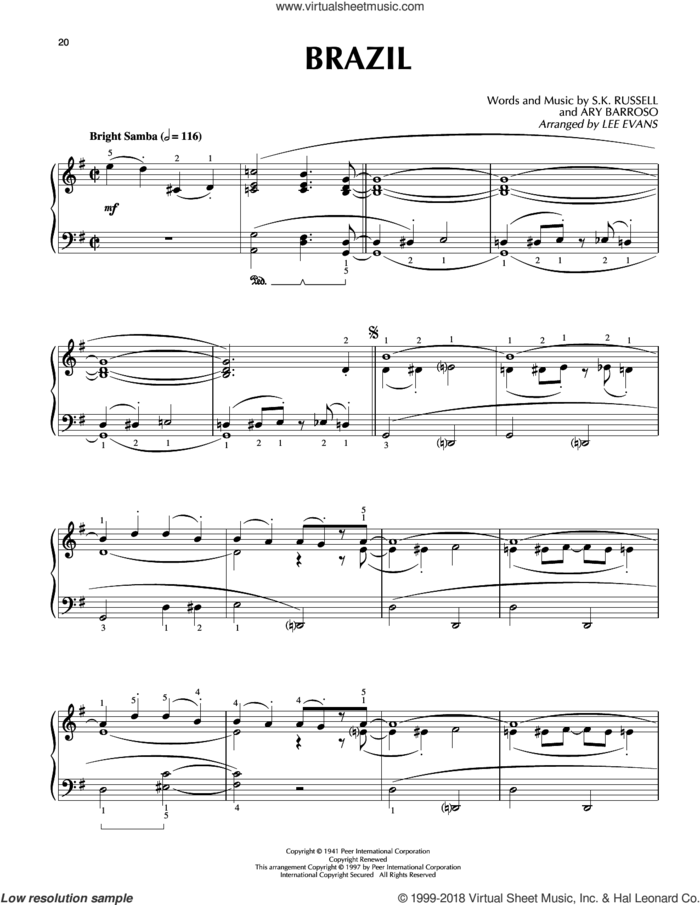 Brazil sheet music for piano solo by Ary Barroso, Lee Evans, The Ritchie Family and S.K. Russell, intermediate skill level