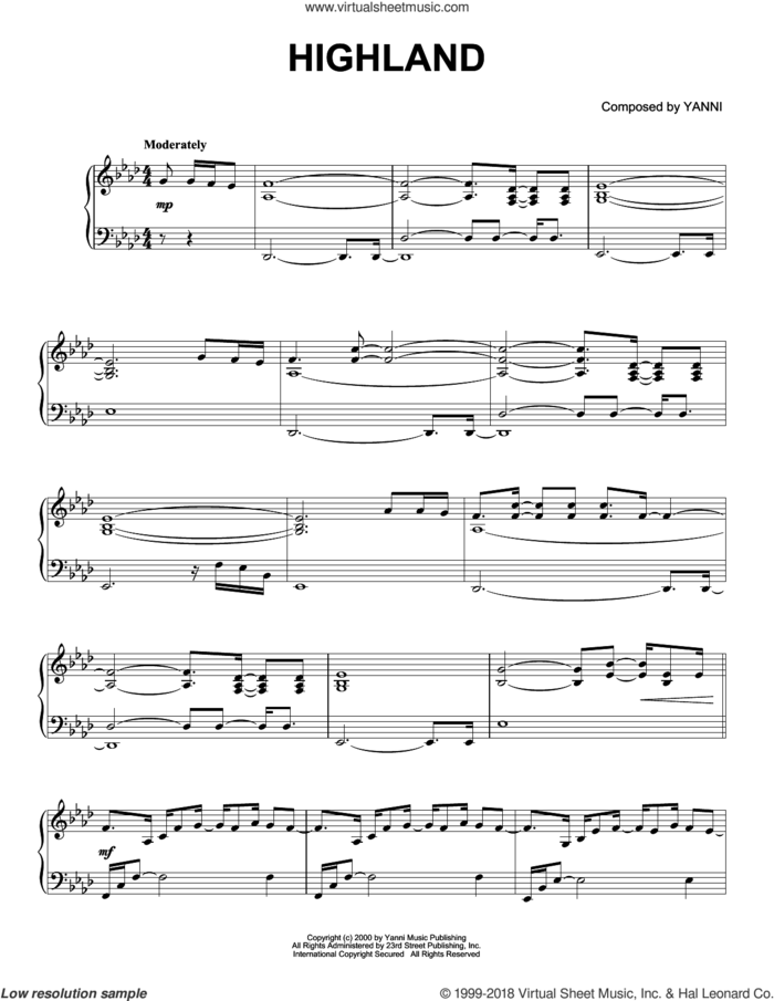 Highland sheet music for piano solo by Yanni, intermediate skill level