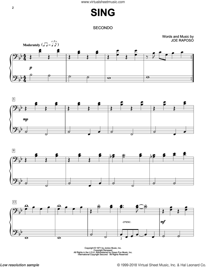 Sing sheet music for piano four hands by Carpenters and Joe Raposo, intermediate skill level