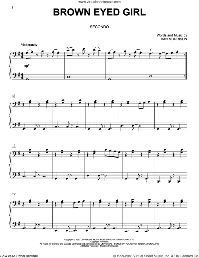 Brown Eyed Girl sheet music for piano four hands by Van Morrison, intermediate skill level