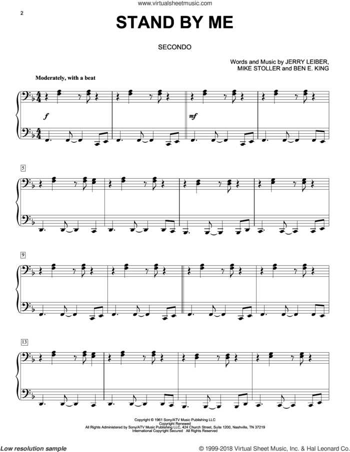Stand By Me sheet music for piano four hands by Ben E. King, Jerry Leiber and Mike Stoller, intermediate skill level