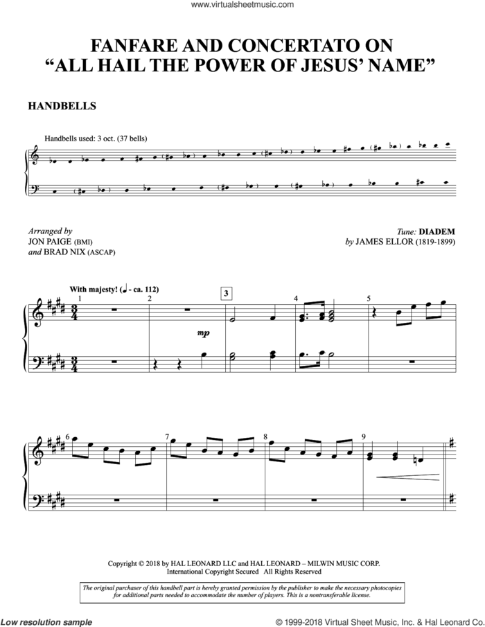 Fanfare And Concertato on 'All Hail the Power of Jesus' Name' sheet music for orchestra/band (handbells) by John Rippon, Jon Paige & Brad Nix and Edward Perronet, intermediate skill level