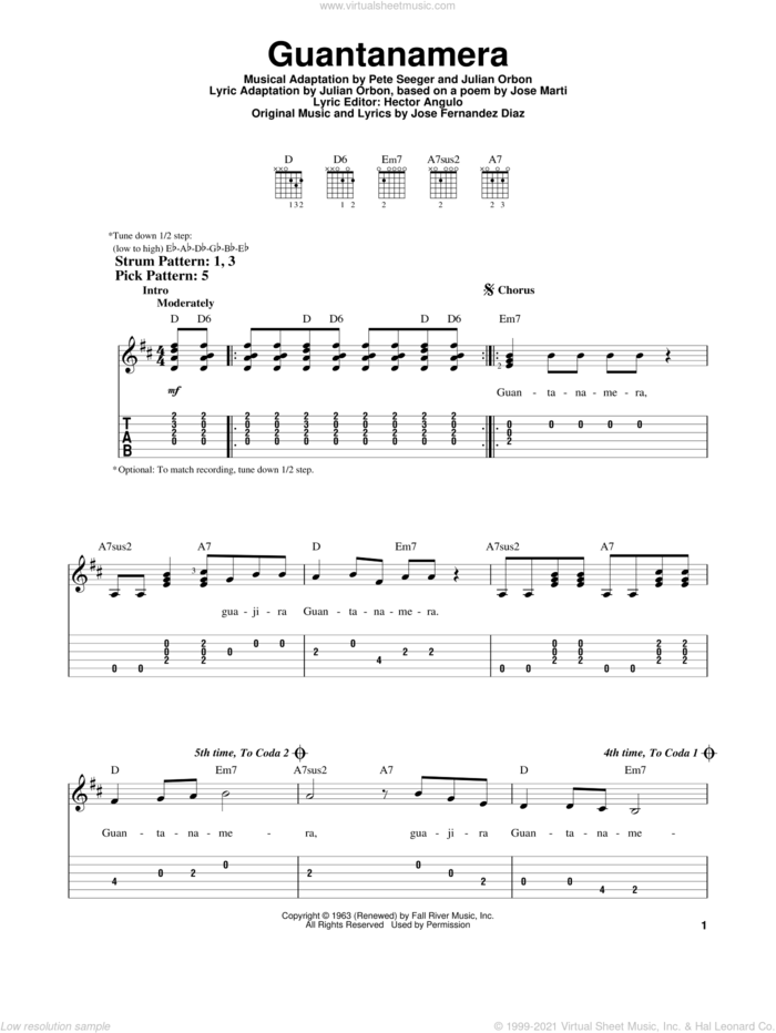 Guantanamera sheet music for guitar solo (easy tablature) by Julio Iglesias, Hector Angulo, Jose Fernandez Diaz, Jose Fernandez Diaz, Julian Orbon and Pete Seeger, easy guitar (easy tablature)