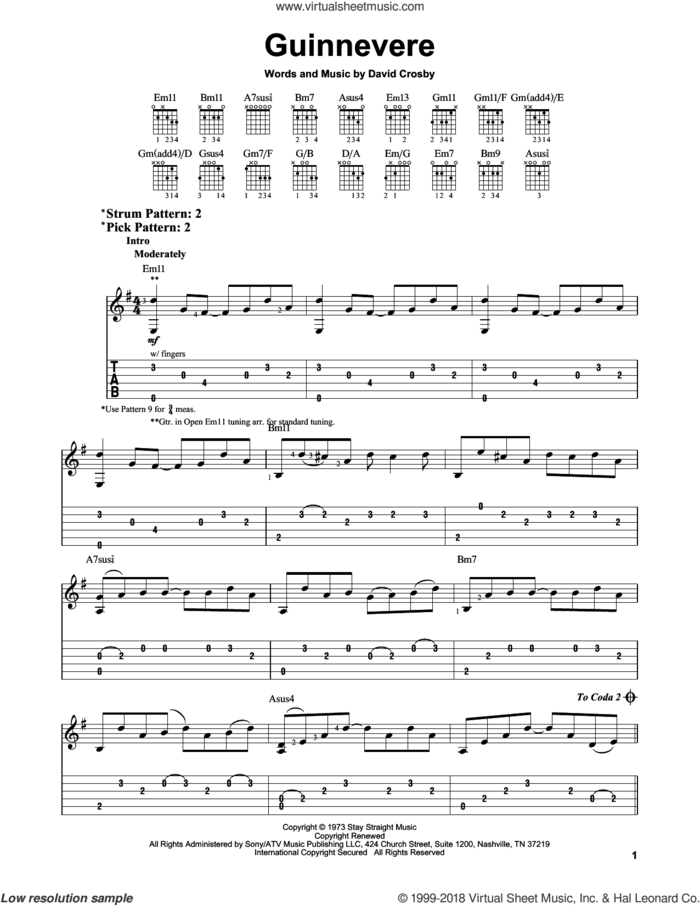 Guinnevere sheet music for guitar solo (easy tablature) by Crosby, Stills & Nash and David Crosby, easy guitar (easy tablature)