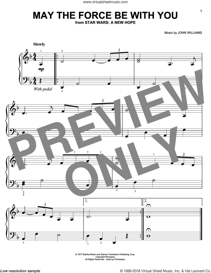 May The Force Be With You (from Star Wars: A New Hope), (easy) sheet music for piano solo by John Williams, easy skill level