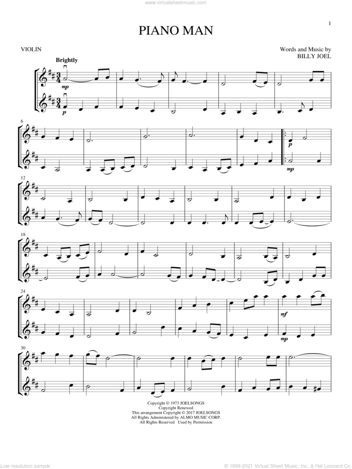 Piano Man sheet music for two violins (duets, violin duets) by Billy Joel, intermediate skill level