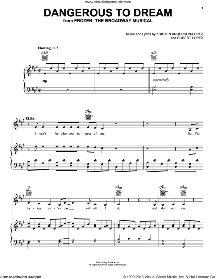 Dangerous To Dream (from Frozen: the Broadway Musical) sheet music for voice, piano or guitar by Kristen Anderson-Lopez & Robert Lopez, Kristen Anderson-Lopez and Robert Lopez, intermediate skill level