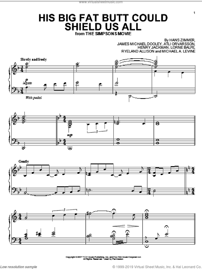 His Big Fat Butt Could Shield Us All sheet music for piano solo by Hans Zimmer, The Simpsons, The Simpsons Movie, Atli Orvarsson, Henry Jackman, James Michael Dooley, Lorne Balfe, Michael A. Levine and Ryeland Allison, intermediate skill level