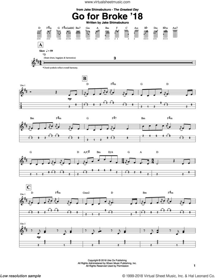 Go For Broke sheet music for ukulele (tablature) by Jake Shimabukuro, intermediate skill level