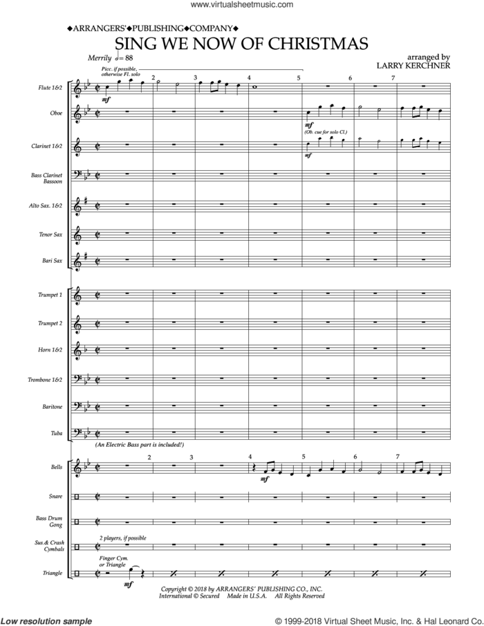Sing We Now of Christmas (arr. Larry Kerchner) (COMPLETE) sheet music for concert band by Larry Kerchner and Miscellaneous, intermediate skill level