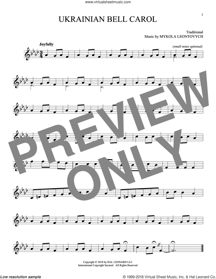 Ukrainian Bell Carol sheet music for ocarina solo, intermediate skill level