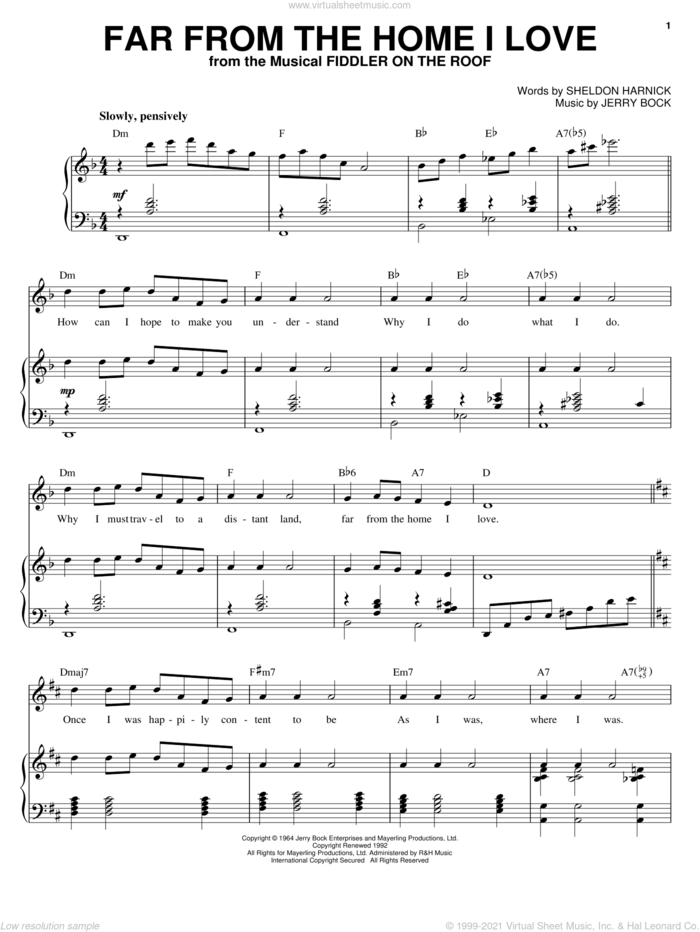 Far From The Home I Love sheet music for voice and piano by Joan Frey Boytim, Bock & Harnick, Jerry Bock and Sheldon Harnick, intermediate skill level