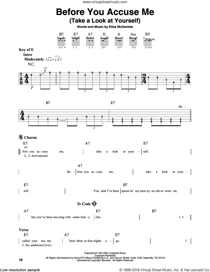 Before You Accuse Me (Take A Look At Yourself) sheet music for guitar solo (lead sheet) by Eric Clapton, Creedence Clearwater Revival and Ellas McDaniels, intermediate guitar (lead sheet)