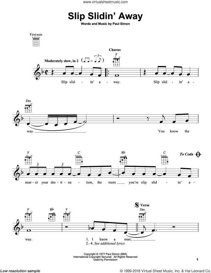 Slip Slidin' Away sheet music for ukulele by Simon & Garfunkel and Paul Simon, intermediate skill level