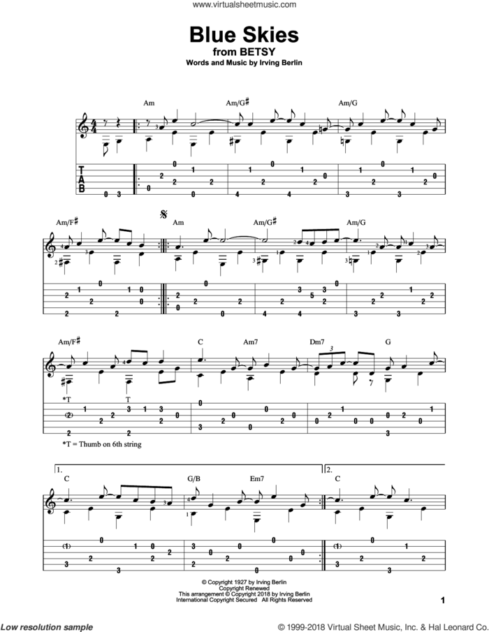 Blue Skies sheet music for guitar solo by Irving Berlin, intermediate skill level