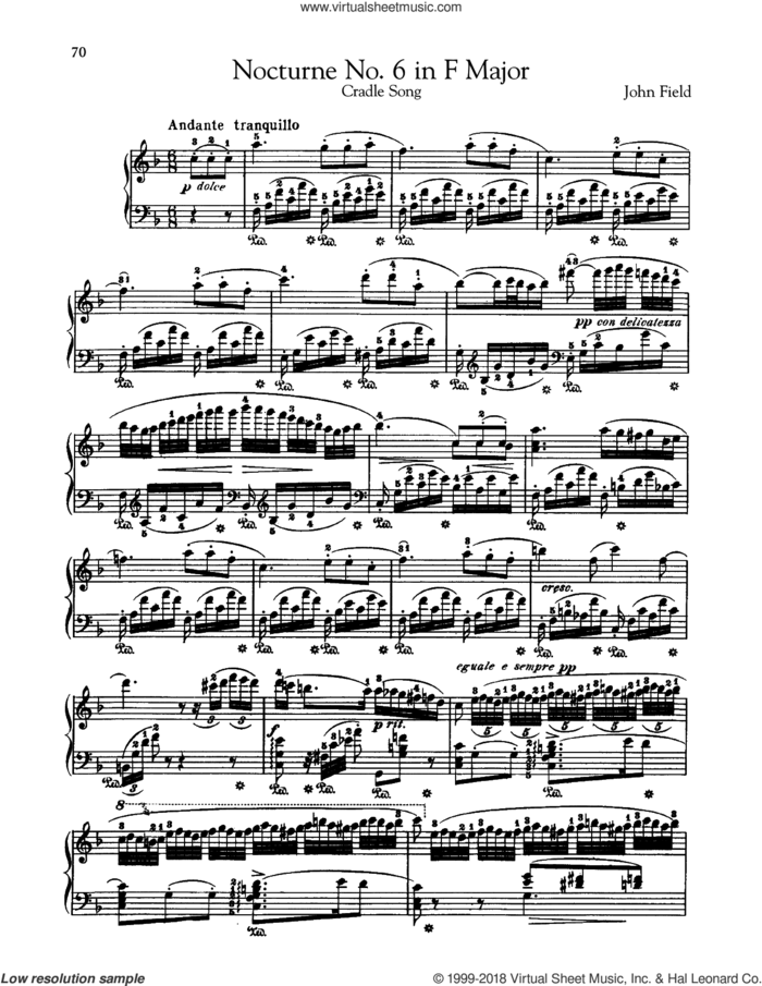 Nocturne No. 6 In F Major, H. 40 sheet music for piano solo by John Field, classical score, intermediate skill level