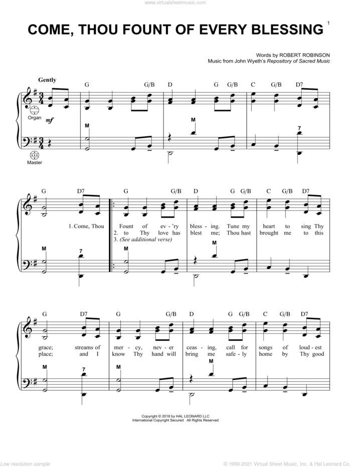 Come, Thou Fount Of Every Blessing sheet music for accordion by Robert Robinson, Gary Meisner and John Wyeth, intermediate skill level