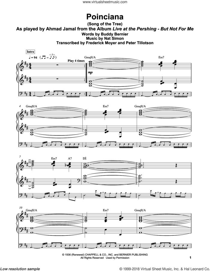 Poinciana (Song Of The Tree) sheet music for piano solo (transcription) by Buddy Bernier, Frederick Moyer and Nat Simon, intermediate piano (transcription)