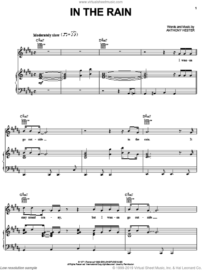 In The Rain sheet music for voice, piano or guitar by Ann Peebles, Keith Sweat and Anthony Hester, intermediate skill level