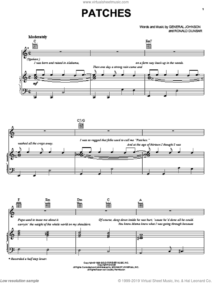 Patches sheet music for voice, piano or guitar by Clarence Carter, General Johnson and Ronald Dunbar, intermediate skill level