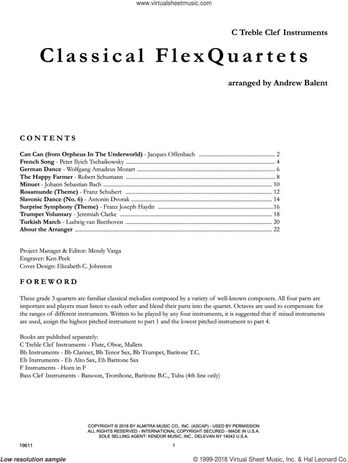Classical FlexQuartets - C Treble Clef Instruments sheet music for wind quartet by Andrew Balent, classical score, intermediate skill level