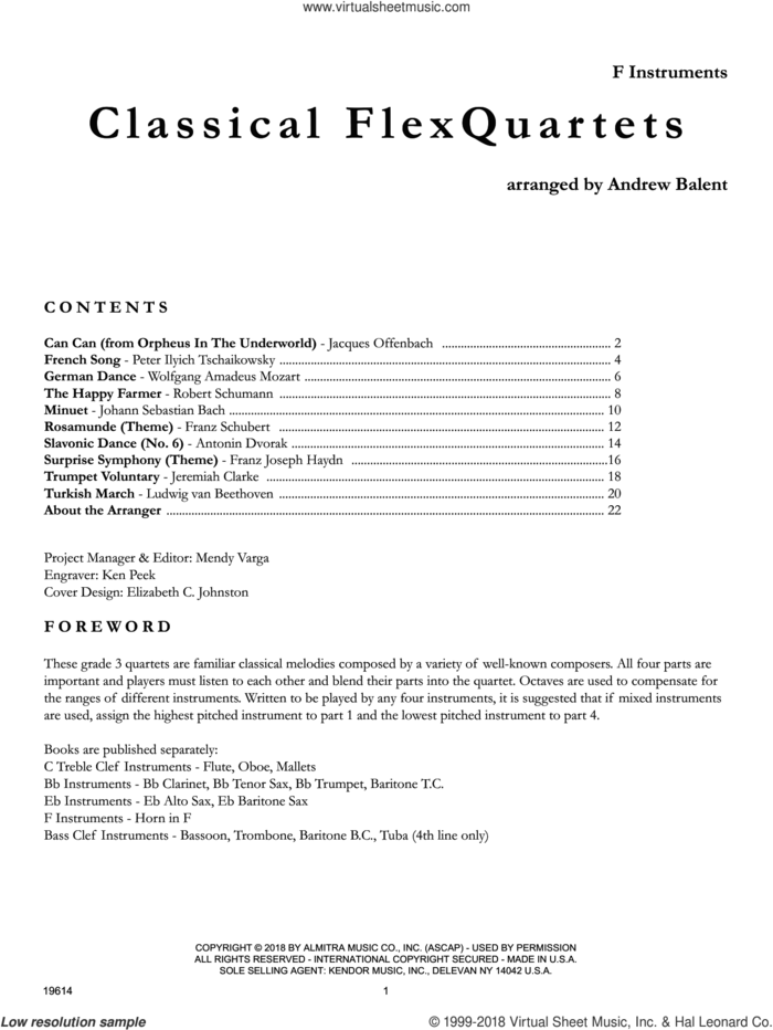 Classical Flexquartets - F Instruments sheet music for brass quartet by Andrew Balent, classical score, intermediate skill level
