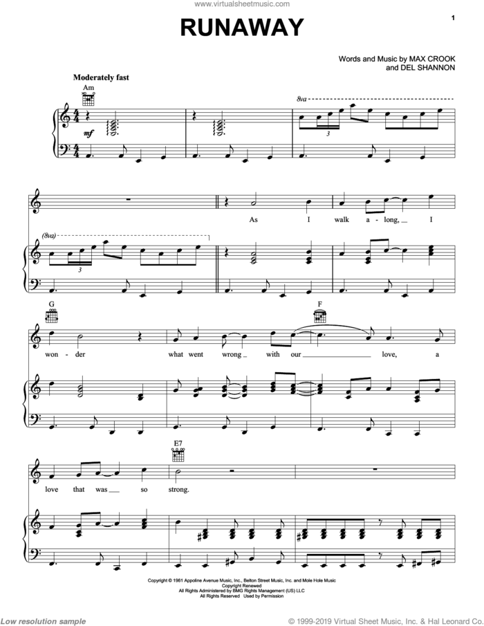 Runaway sheet music for voice, piano or guitar by The Traveling Wilburys, Del Shannon and Max Crook, intermediate skill level