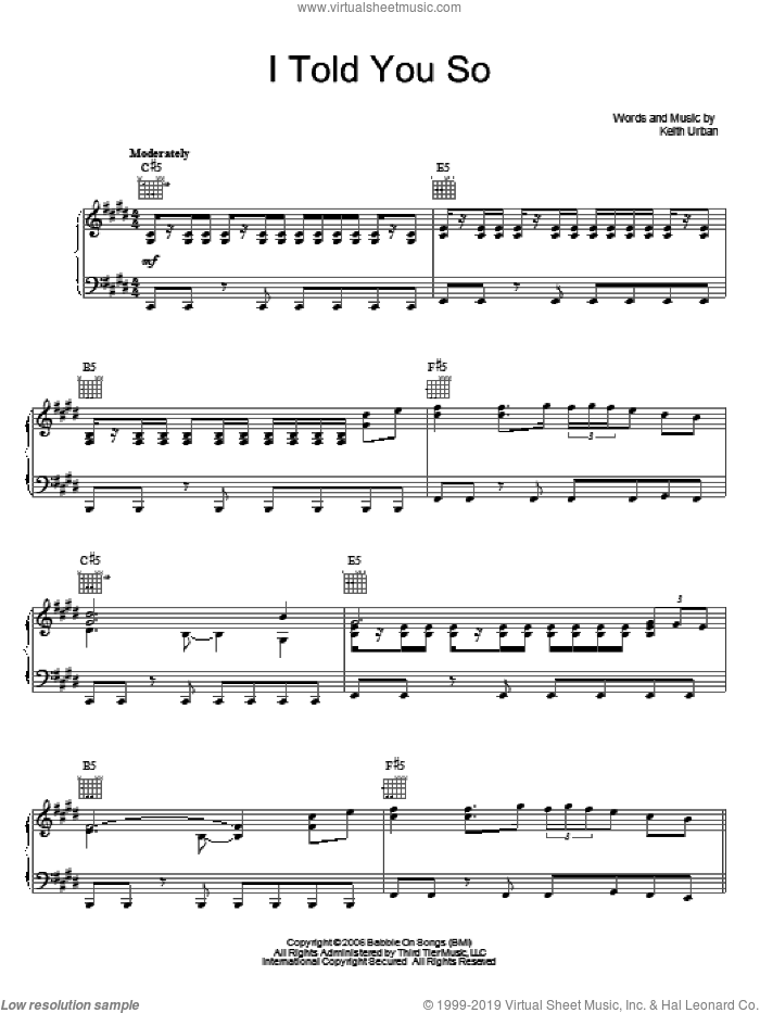 I Told You So sheet music for voice, piano or guitar by Keith Urban, intermediate skill level