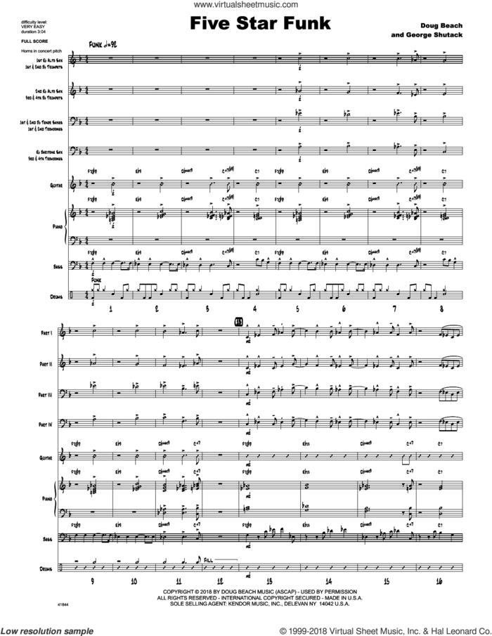 Five Star Funk (COMPLETE) sheet music for jazz band by Doug Beach, Doug Beach & George Shutack and George Shutack, intermediate skill level