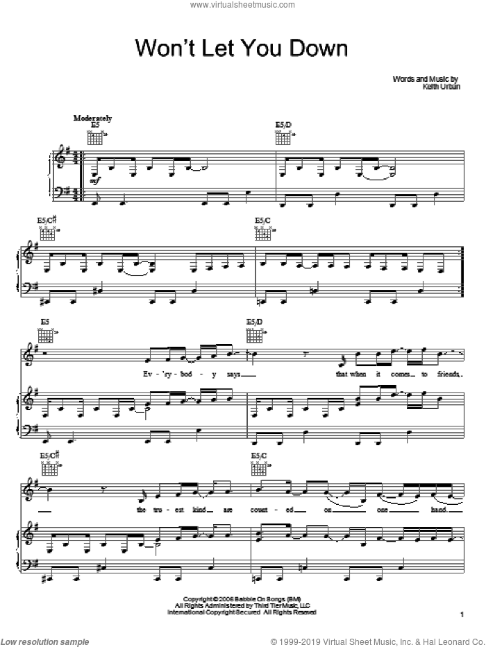 Won't Let You Down sheet music for voice, piano or guitar by Keith Urban, intermediate skill level