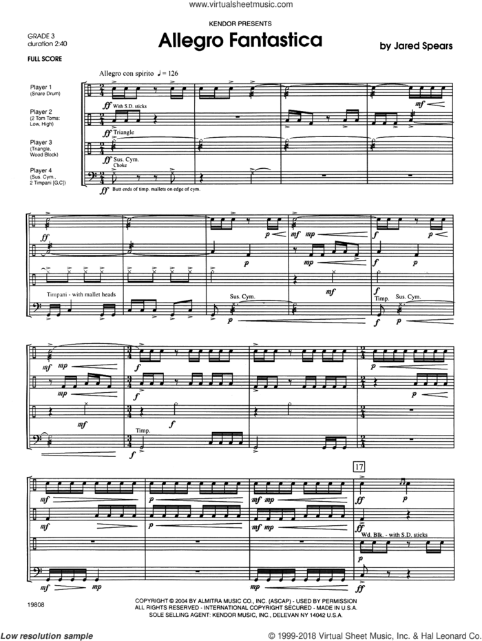Allegro Fantastica (COMPLETE) sheet music for percussions by Jared Spears, intermediate skill level