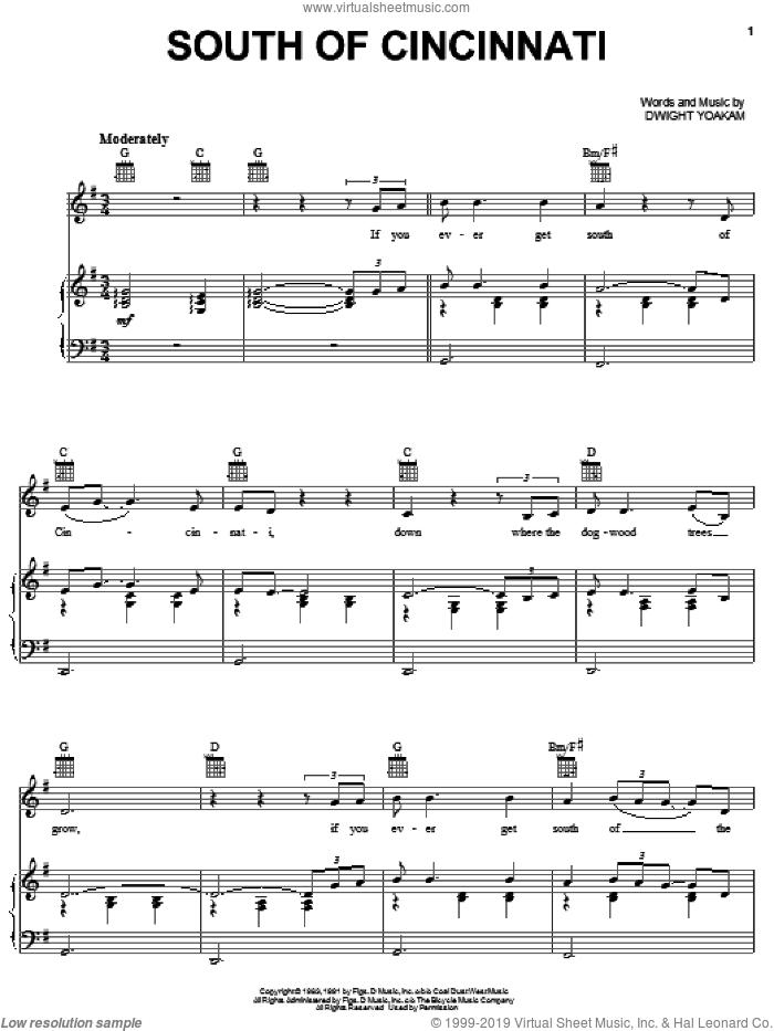 South Of Cincinnati sheet music for voice, piano or guitar by Dwight Yoakam, intermediate skill level