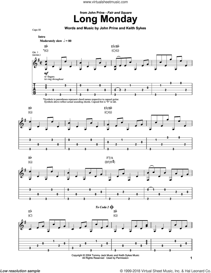 Long Monday sheet music for guitar (tablature) by John Prine and Keith Sykes, intermediate skill level