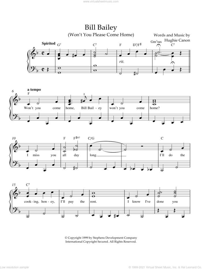 Bill Bailey (Won't You Please Come Home) sheet music for piano solo by Johann Pachelbel, intermediate skill level